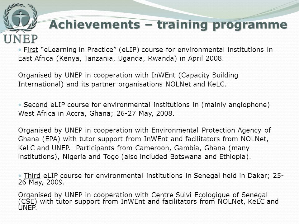 Achievements – training programme First eLearning in Practice (eLIP) course for environmental institutions in East Africa (Kenya, Tanzania, Uganda, Rw
