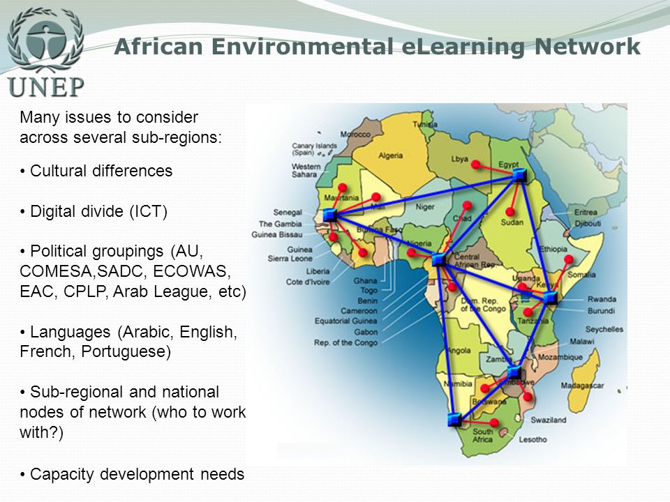 African Environmental eLearning Network Many issues to consider across several sub-regions: Cultural differences Digital divide (ICT) Political groupi