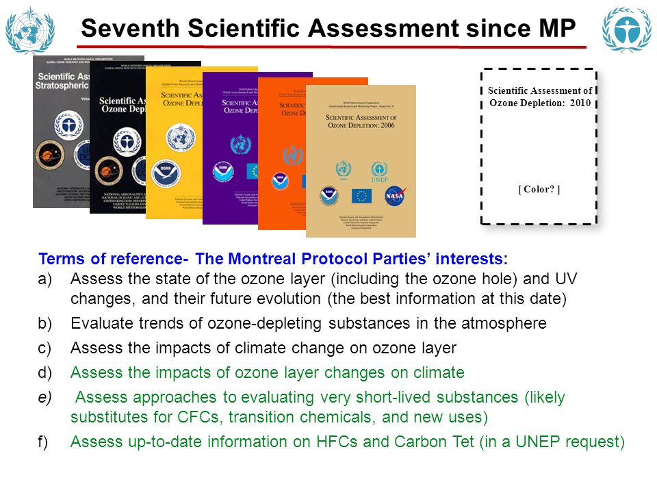 Seventh Scientific Assessment since MP Scientific Assessment of Ozone Depletion: 2010 [ Color.