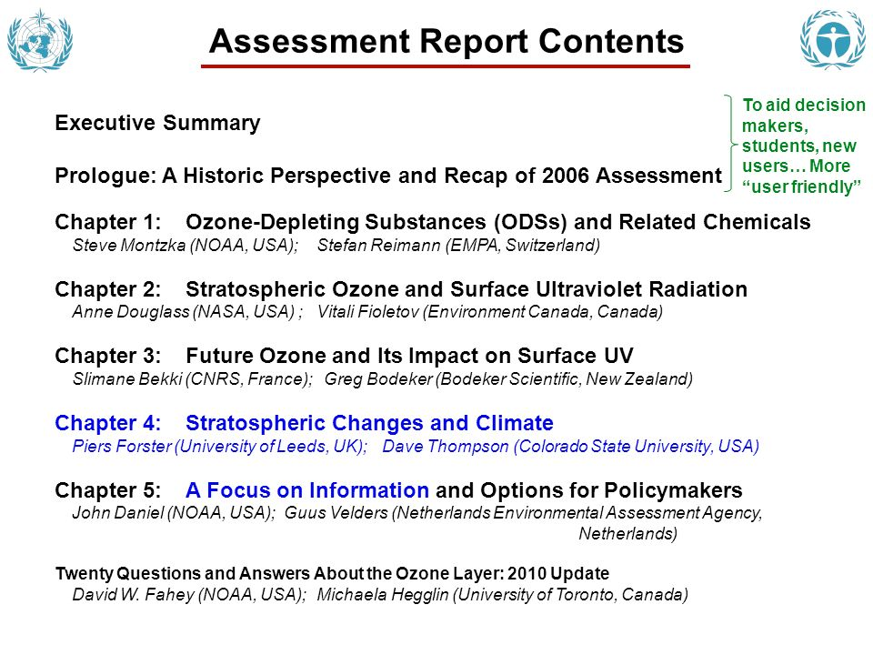 Seventh Assessment: Details Major Milestones: Executive Summary released September 16, 2010 Report to the Parties November 11, 2010 Posting on the websites: WMO: http://www.wmo.int/pages/mediacentre/press_releases/documents/ 898_ExecutiveSummary.pdf UNEP: http://ozone.unep.org/highlights.shtml Full report available to Parties in January 2011; printed April 2011 Participants: Over 300 scientists from 34 countries Roles: Cochairs; Coordinating Lead Authors; Lead Authors; Coauthors, Contributors, Reviewers First-draft preparation & review Second-draft preparation & review Final chapter preparation & document editing Third-draft preparation & review 2009 2010 2011 We are here