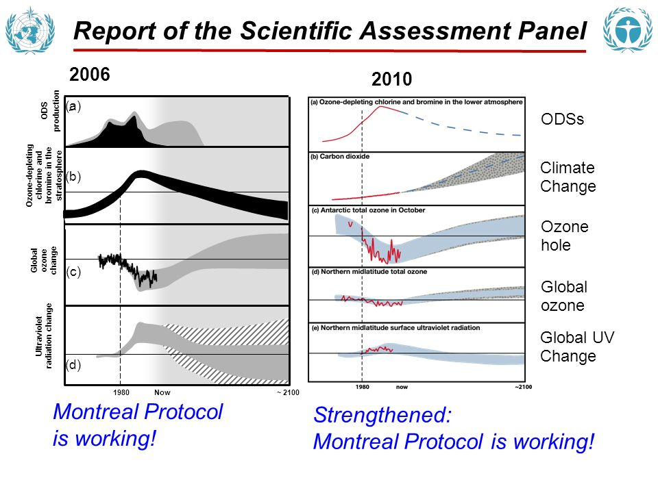 Ozone-Depleting Substances (ODSs) The abundances of ODSs in the atmosphere are responding as expected to the controls of the Montreal Protocol.