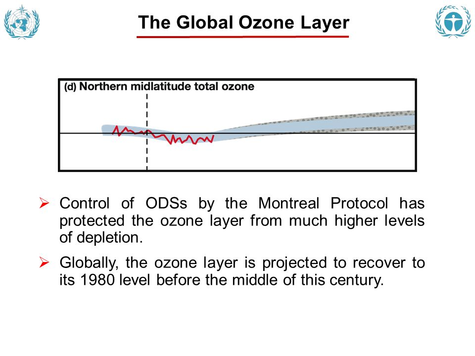 Control of ODSs by the Montreal Protocol has protected the ozone layer from much higher levels of depletion. Globally, the ozone layer is projected to