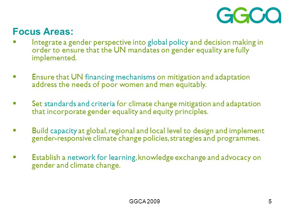 GGCA 20095 Focus Areas: Integrate a gender perspective into global policy and decision making in order to ensure that the UN mandates on gender equality are fully implemented.