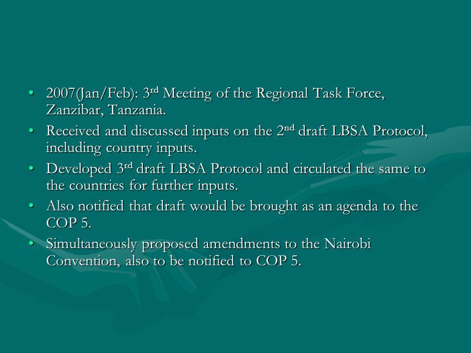 2007(Jan/Feb): 3 rd Meeting of the Regional Task Force, Zanzibar, Tanzania.2007(Jan/Feb): 3 rd Meeting of the Regional Task Force, Zanzibar, Tanzania.