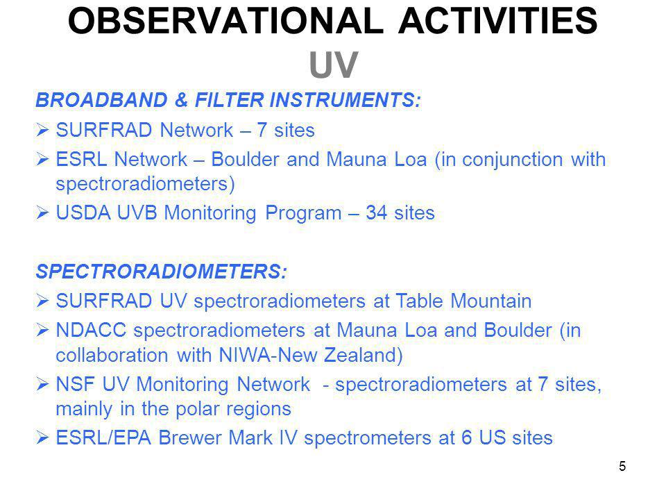 5 OBSERVATIONAL ACTIVITIES UV BROADBAND & FILTER INSTRUMENTS: SURFRAD Network – 7 sites ESRL Network – Boulder and Mauna Loa (in conjunction with spec