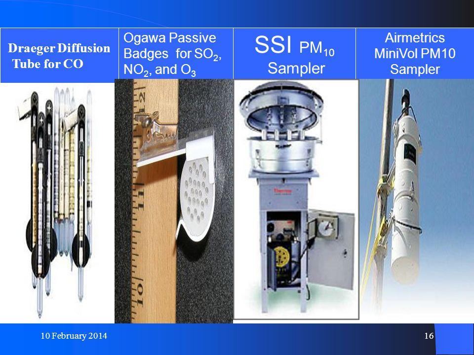 10 February 201416 Draeger Diffusion Tube for CO Ogawa Passive Badges for SO 2, NO 2, and O 3 SSI PM 10 Sampler Airmetrics MiniVol PM10 Sampler