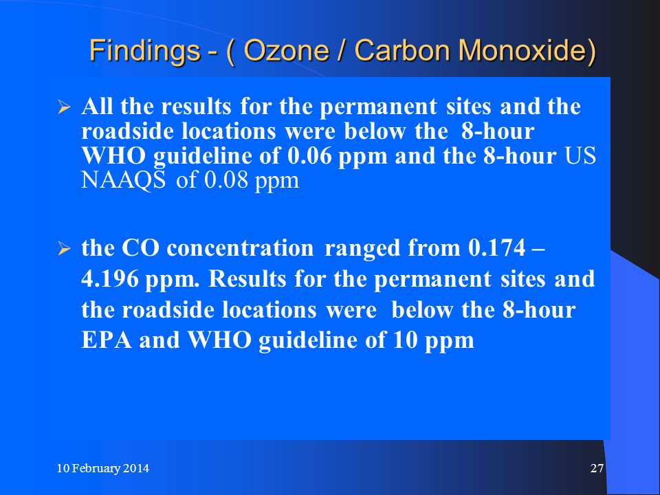 10 February 201427 Findings - ( Ozone / Carbon Monoxide) Findings - ( Ozone / Carbon Monoxide) All the results for the permanent sites and the roadsid