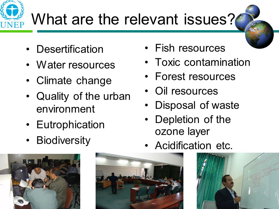 What are the relevant issues? Desertification Water resources Climate change Quality of the urban environment Eutrophication Biodiversity Fish resourc