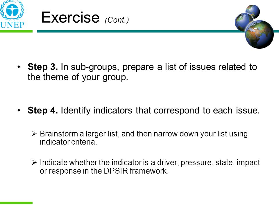 Exercise (Cont.) Step 3. In sub-groups, prepare a list of issues related to the theme of your group. Step 4. Identify indicators that correspond to ea