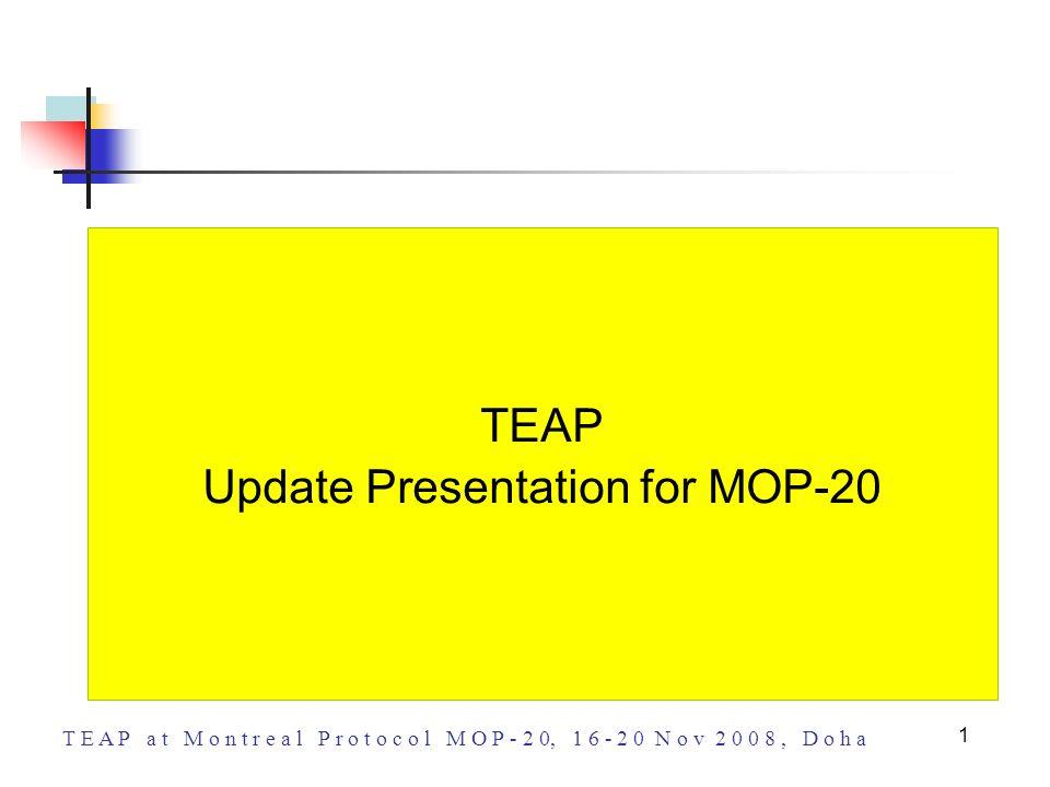 T E A P a t M o n t r e a l P r o t o c o l M O P - 2 0, 1 6 - 2 0 N o v 2 0 0 8, D o h a 1 TEAP Update Presentation for MOP-20