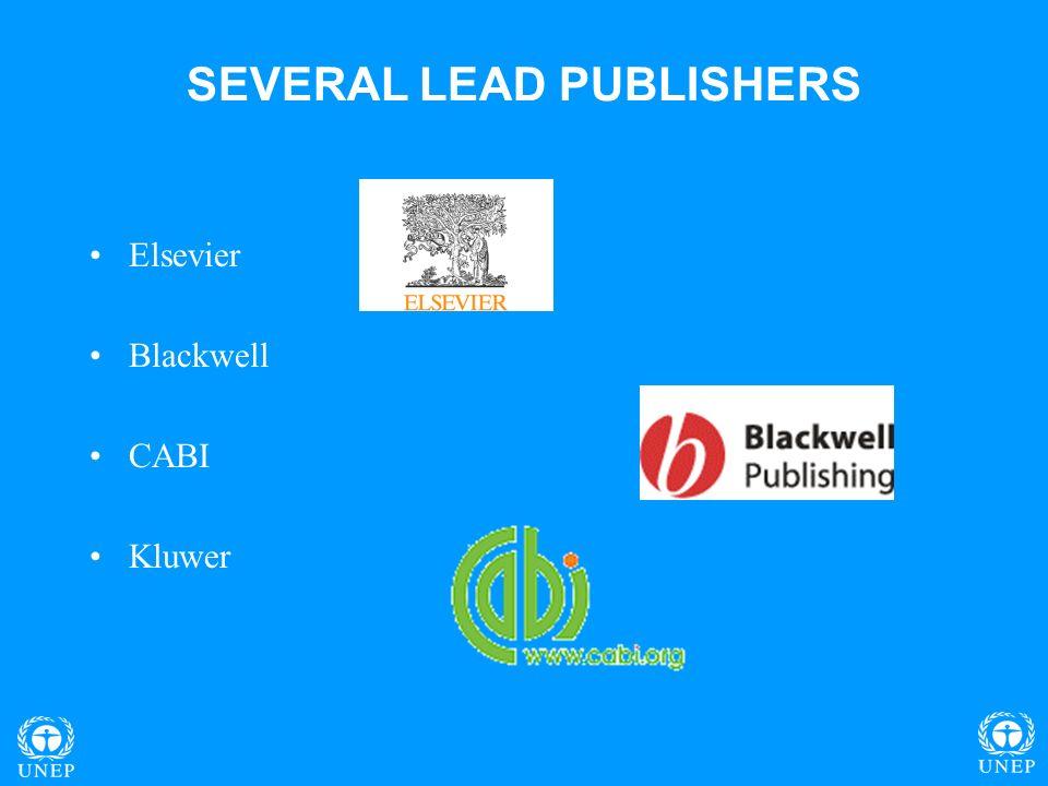 SEVERAL LEAD PUBLISHERS Elsevier Blackwell CABI Kluwer