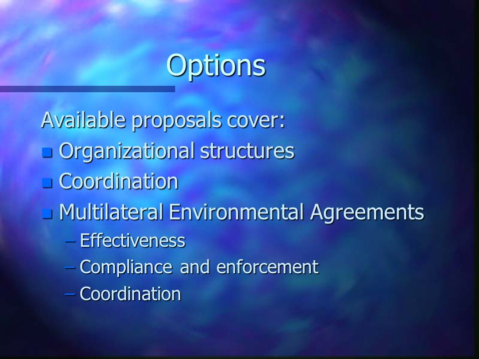 Options Available proposals cover: n Organizational structures n Coordination n Multilateral Environmental Agreements –Effectiveness –Compliance and enforcement –Coordination