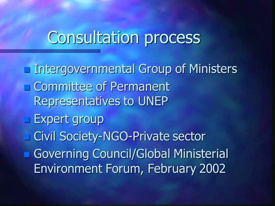 Consultation process n Intergovernmental Group of Ministers n Committee of Permanent Representatives to UNEP n Expert group n Civil Society-NGO-Private sector n Governing Council/Global Ministerial Environment Forum, February 2002