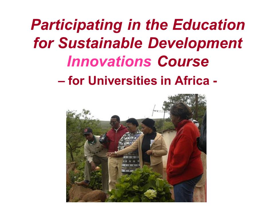 Participating in the Education for Sustainable Development Innovations Course – for Universities in Africa -