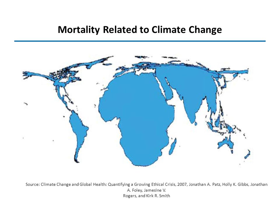 Mortality Related to Climate Change Source: Climate Change and Global Health: Quantifying a Growing Ethical Crisis, 2007, Jonathan A. Patz, Holly K. G