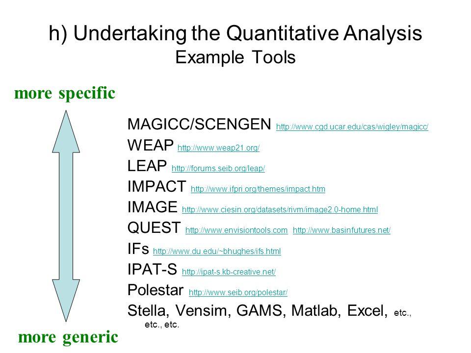 h) Undertaking the Quantitative Analysis Example Tools MAGICC/SCENGEN http://www.cgd.ucar.edu/cas/wigley/magicc/ http://www.cgd.ucar.edu/cas/wigley/ma
