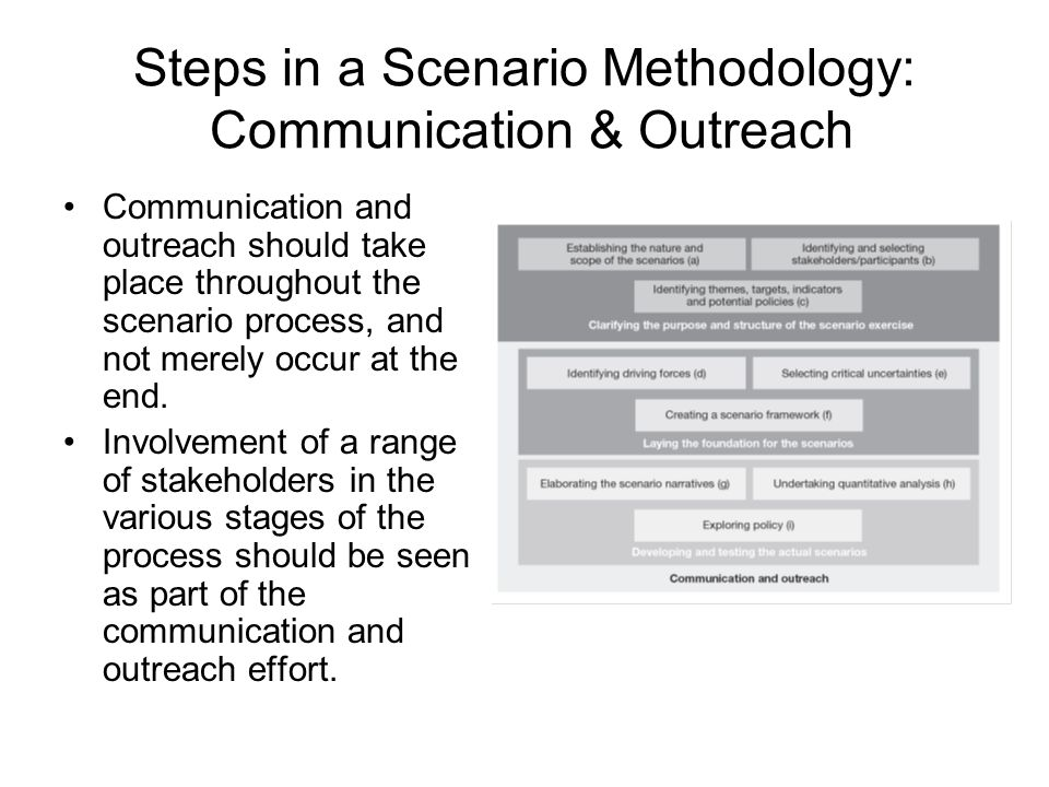 Steps in a Scenario Methodology: Communication & Outreach Communication and outreach should take place throughout the scenario process, and not merely