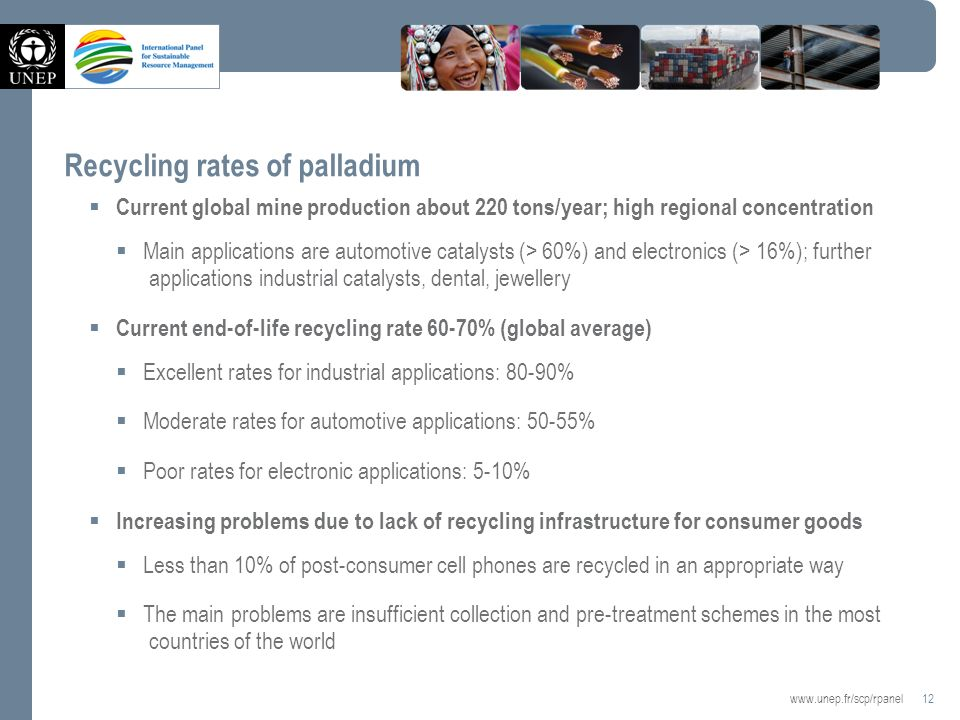 12   Recycling rates of palladium Current global mine production about 220 tons/year; high regional concentration Main applications are automotive catalysts (> 60%) and electronics (> 16%); further applications industrial catalysts, dental, jewellery Current end-of-life recycling rate 60-70% (global average) Excellent rates for industrial applications: 80-90% Moderate rates for automotive applications: 50-55% Poor rates for electronic applications: 5-10% Increasing problems due to lack of recycling infrastructure for consumer goods Less than 10% of post-consumer cell phones are recycled in an appropriate way The main problems are insufficient collection and pre-treatment schemes in the most countries of the world