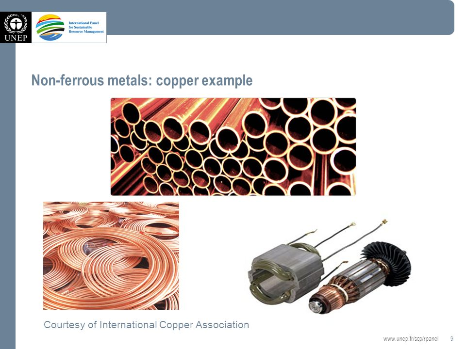 9   Non-ferrous metals: copper example Courtesy of International Copper Association