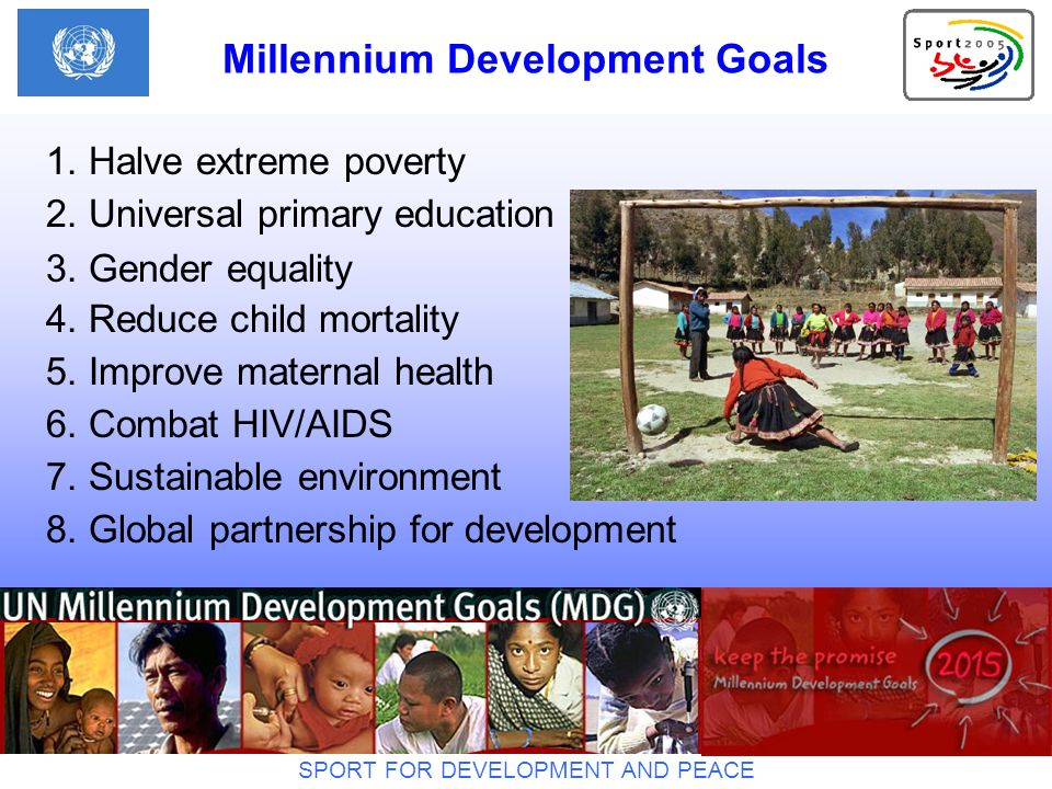 SPORT FOR DEVELOPMENT AND PEACE Aichi / July 2005 Office of the IYSPE 2005 UN Office at Geneva C-203 Palais des Nations CH - 1211 Geneva 10 Tel: +41 22 917 25 40 E-mail: mkleiner@unog.ch Website: www.un.org/sport2005 Contact