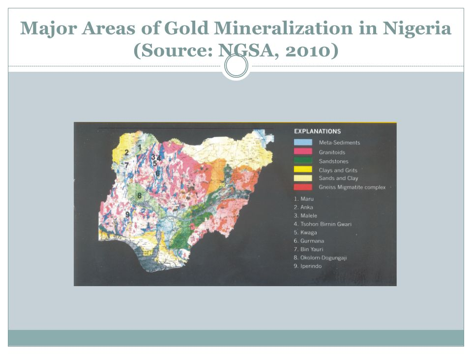 Major Areas of Gold Mineralization in Nigeria (Source: NGSA, 2010)