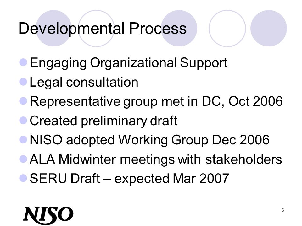 6 Developmental Process Engaging Organizational Support Legal consultation Representative group met in DC, Oct 2006 Created preliminary draft NISO ado