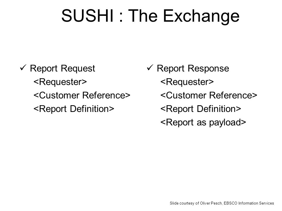 SUSHI : The Exchange Report Request Report Response Slide courtesy of Oliver Pesch, EBSCO Information Services