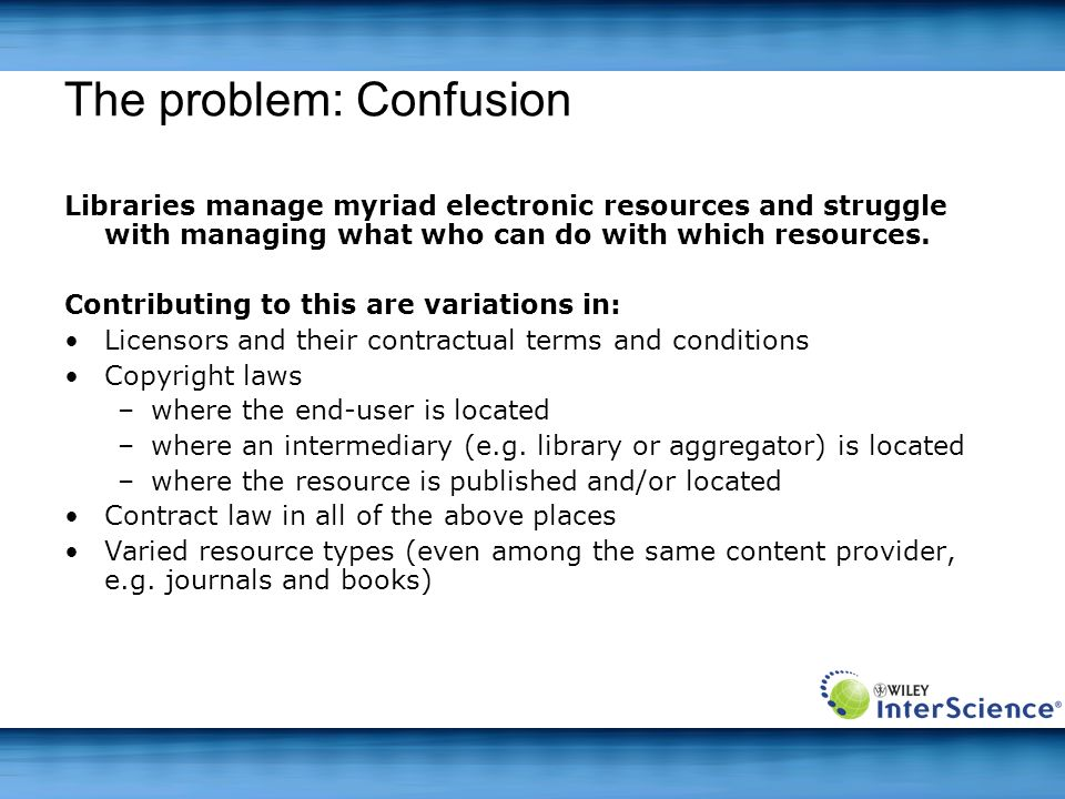 The problem: Confusion Libraries manage myriad electronic resources and struggle with managing what who can do with which resources. Contributing to t