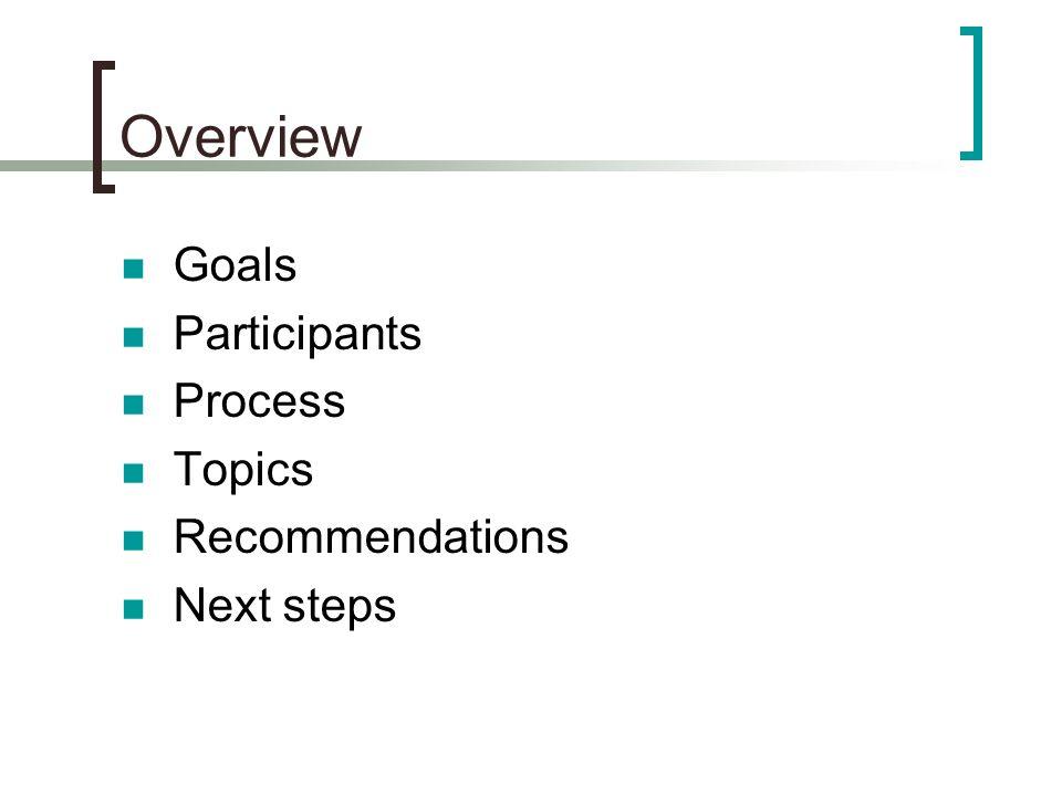 Overview Goals Participants Process Topics Recommendations Next steps