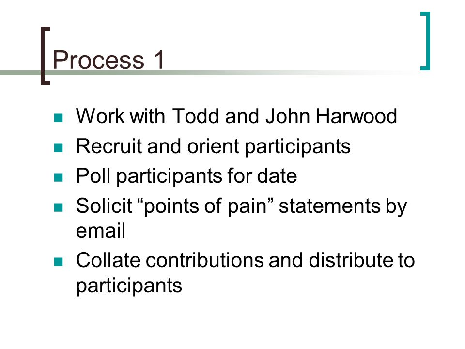 Process 1 Work with Todd and John Harwood Recruit and orient participants Poll participants for date Solicit points of pain statements by email Collate contributions and distribute to participants