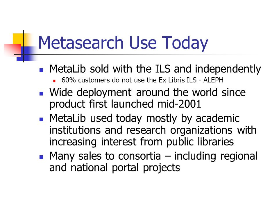 Metasearch Use Today MetaLib sold with the ILS and independently 60% customers do not use the Ex Libris ILS - ALEPH Wide deployment around the world since product first launched mid-2001 MetaLib used today mostly by academic institutions and research organizations with increasing interest from public libraries Many sales to consortia – including regional and national portal projects