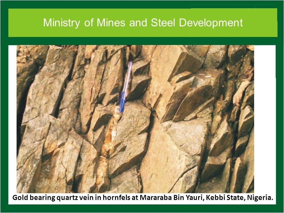 Ministry of Mines and Steel Development Gold bearing quartz vein in hornfels at Mararaba Bin Yauri, Kebbi State, Nigeria.