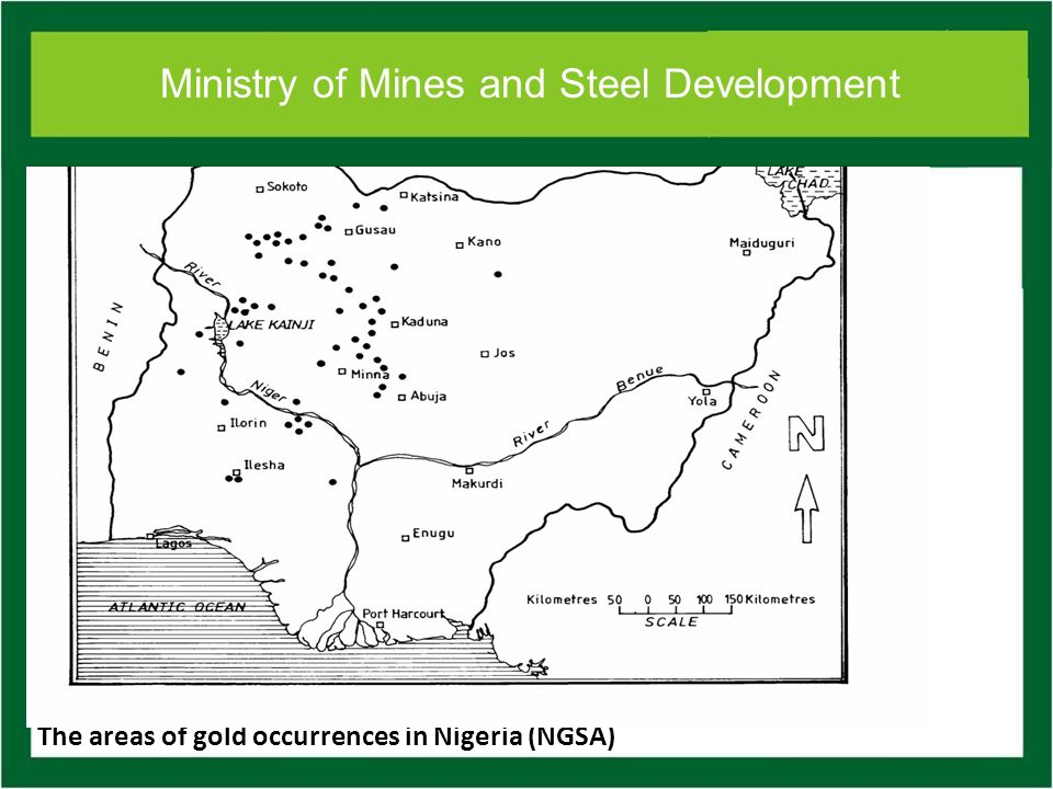 Ministry of Mines and Steel Development The areas of gold occurrences in Nigeria (NGSA)