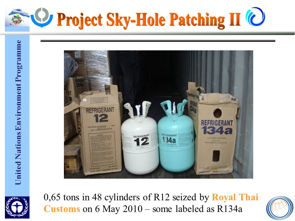 United Nations Environment Programme 0,65 tons in 48 cylinders of R12 seized by Royal Thai Customs on 6 May 2010 – some labeled as R134a
