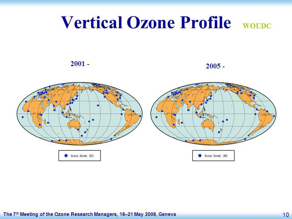 The 7 th Meeting of the Ozone Research Managers, 18–21 May 2008, Geneva 10 Vertical Ozone Profile 2001 - 2005 - WOUDC