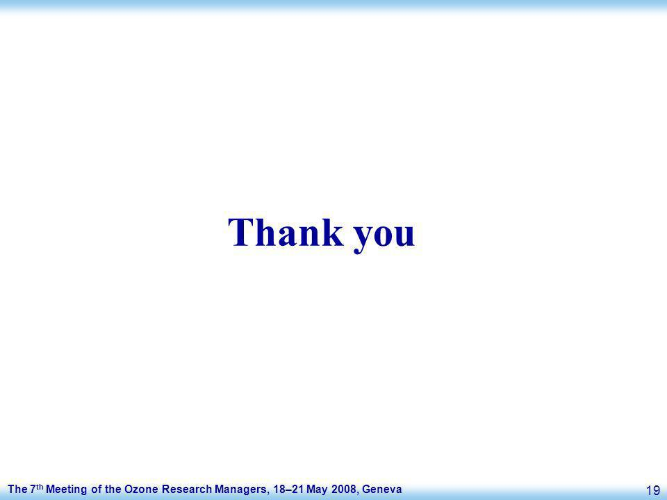 The 7 th Meeting of the Ozone Research Managers, 18–21 May 2008, Geneva 19 Thank you