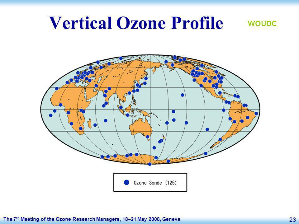 The 7 th Meeting of the Ozone Research Managers, 18–21 May 2008, Geneva 23 Vertical Ozone Profile WOUDC
