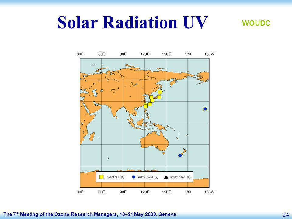 The 7 th Meeting of the Ozone Research Managers, 18–21 May 2008, Geneva 24 Solar Radiation UV WOUDC