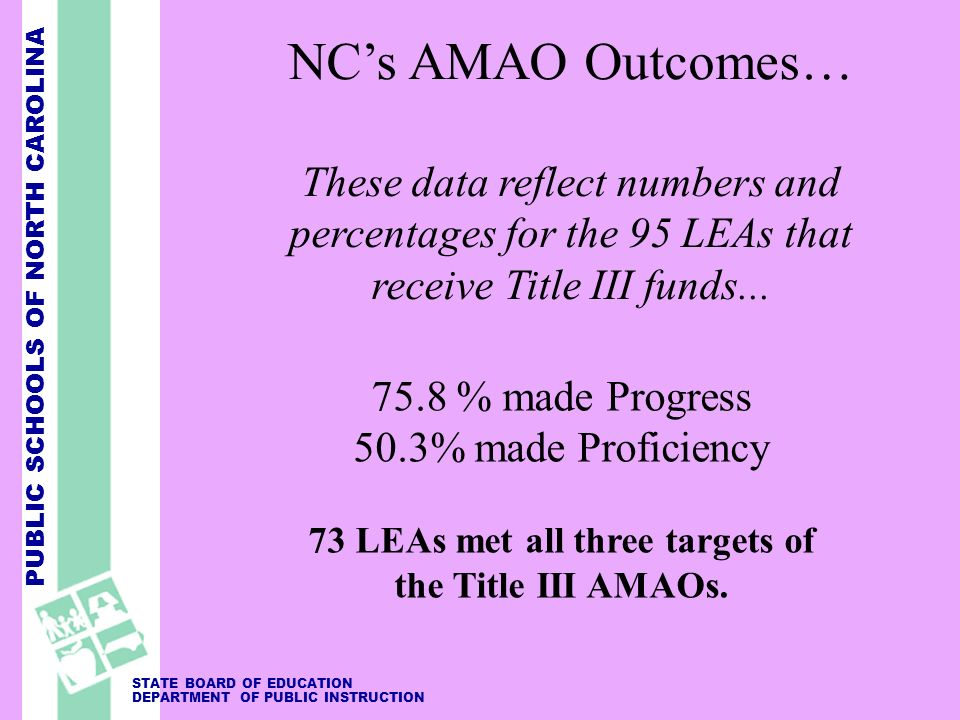 PUBLIC SCHOOLS OF NORTH CAROLINA STATE BOARD OF EDUCATION DEPARTMENT OF PUBLIC INSTRUCTION NCs AMAO Outcomes… These data reflect numbers and percentages for the 95 LEAs that receive Title III funds...