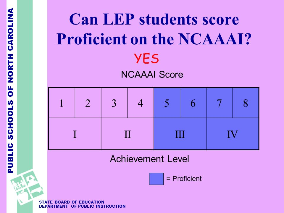 PUBLIC SCHOOLS OF NORTH CAROLINA STATE BOARD OF EDUCATION DEPARTMENT OF PUBLIC INSTRUCTION Can LEP students score Proficient on the NCAAAI.