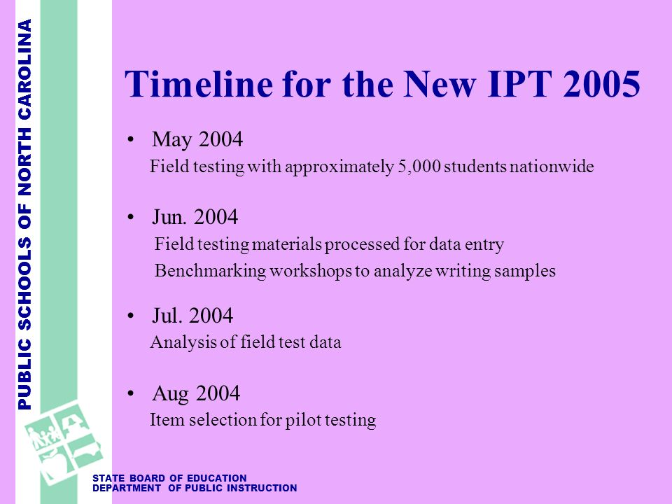 PUBLIC SCHOOLS OF NORTH CAROLINA STATE BOARD OF EDUCATION DEPARTMENT OF PUBLIC INSTRUCTION Timeline for the New IPT 2005 May 2004 Field testing with approximately 5,000 students nationwide Jun.