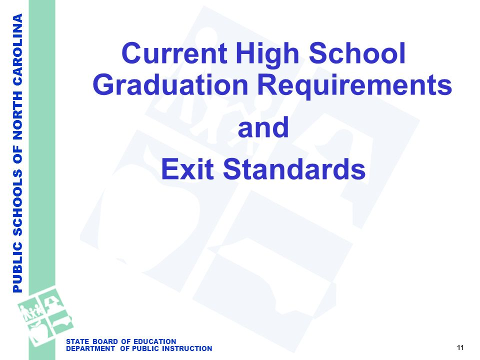 PUBLIC SCHOOLS OF NORTH CAROLINA STATE BOARD OF EDUCATION DEPARTMENT OF PUBLIC INSTRUCTION Current High School Graduation Requirements and Exit Standa