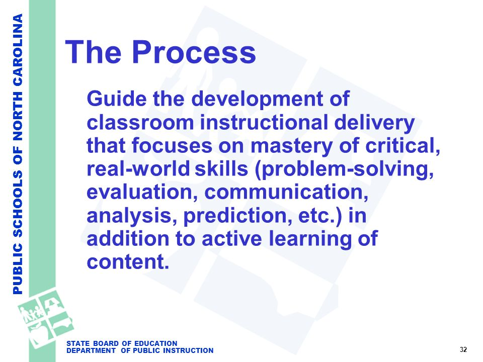 PUBLIC SCHOOLS OF NORTH CAROLINA STATE BOARD OF EDUCATION DEPARTMENT OF PUBLIC INSTRUCTION The Process Guide the development of classroom instructiona
