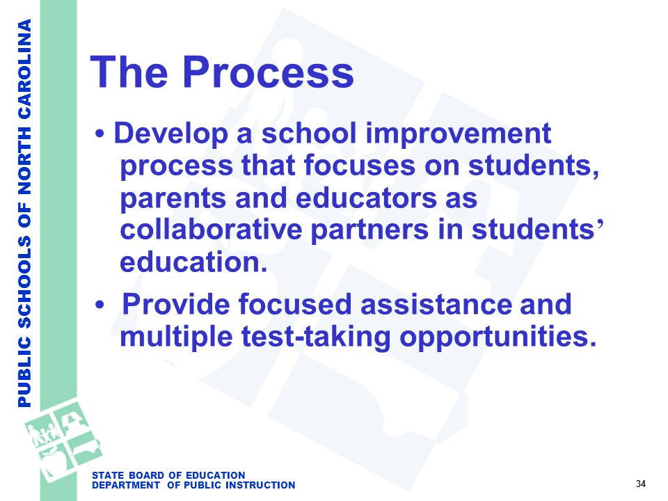 PUBLIC SCHOOLS OF NORTH CAROLINA STATE BOARD OF EDUCATION DEPARTMENT OF PUBLIC INSTRUCTION The Process Develop a school improvement process that focus