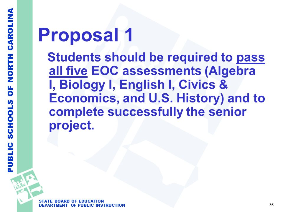 PUBLIC SCHOOLS OF NORTH CAROLINA STATE BOARD OF EDUCATION DEPARTMENT OF PUBLIC INSTRUCTION Proposal 1 Students should be required to pass all five EOC