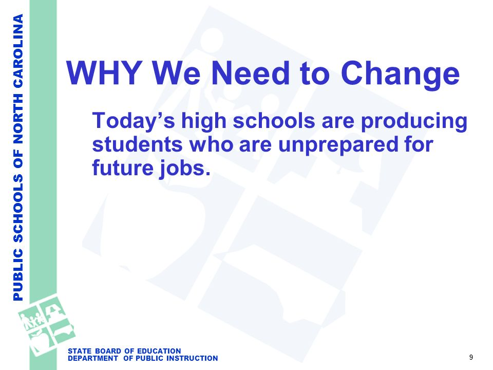 PUBLIC SCHOOLS OF NORTH CAROLINA STATE BOARD OF EDUCATION DEPARTMENT OF PUBLIC INSTRUCTION WHY We Need to Change Todays high schools are producing stu