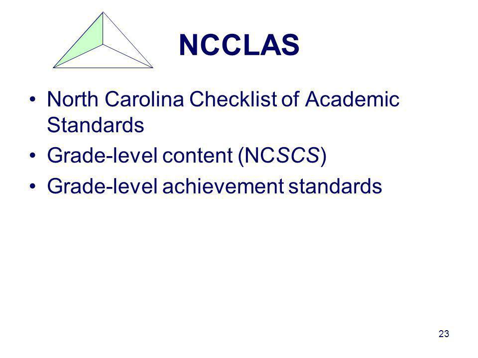 23 NCCLAS North Carolina Checklist of Academic Standards Grade-level content (NCSCS) Grade-level achievement standards