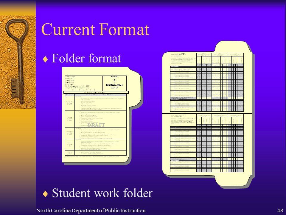 North Carolina Department of Public Instruction48 Current Format Folder format Student work folder DRAF T