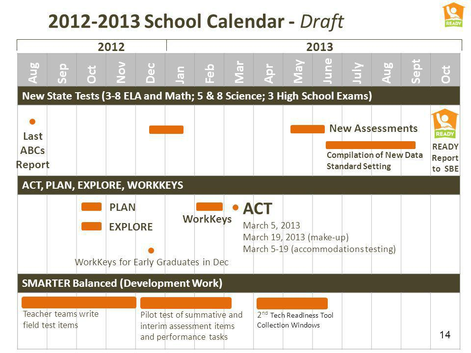 2012-2013 School Calendar - Draft Aug Sep Oct Nov Dec Jan Feb Mar Apr May June July Aug Sept Oct New State Tests (3-8 ELA and Math; 5 & 8 Science; 3 H