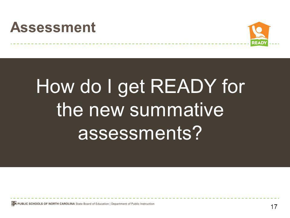 Assessment How do I get READY for the new summative assessments? 17